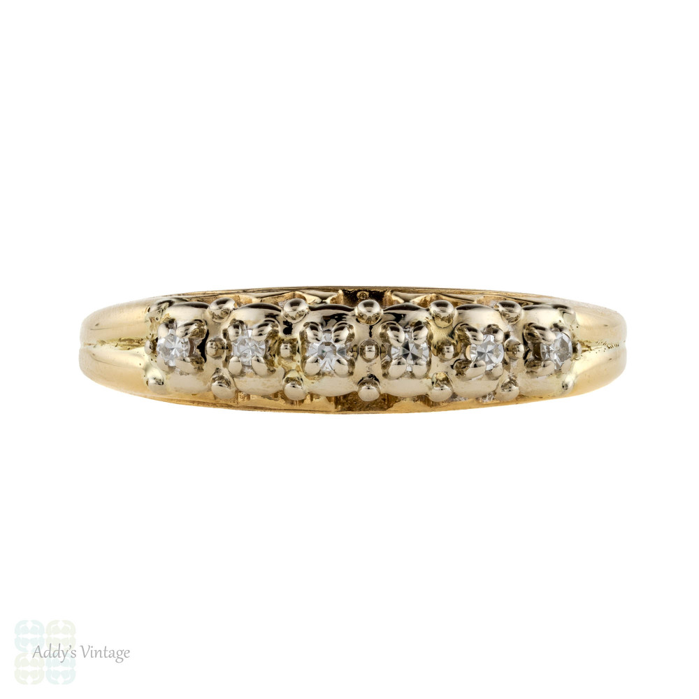 Vintage Diamond Wedding Ring, 1940s 14k Two-Tone Half Hoop Mid 20th Century Band.