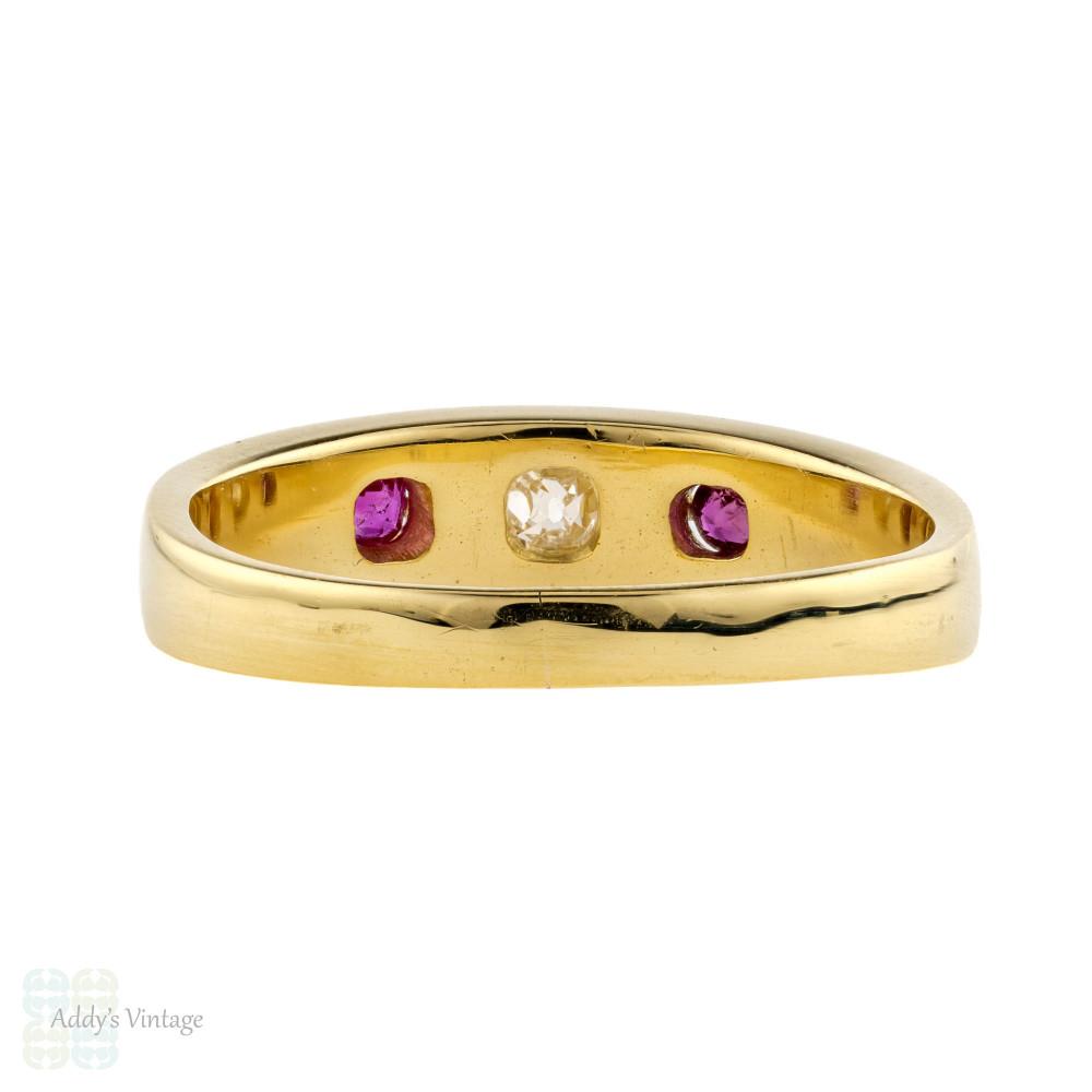 Diamond & Ruby Gypsy Ring, Antique 18ct 18k Gold Three Stone Victorian Band.