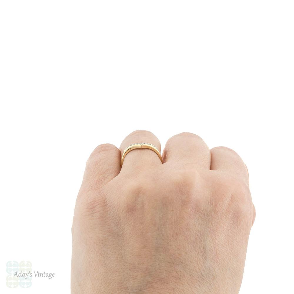 Diamond Wishbone Wedding Ring, 9ct 9k Gold Shaped Half Hoop Ladies Band.