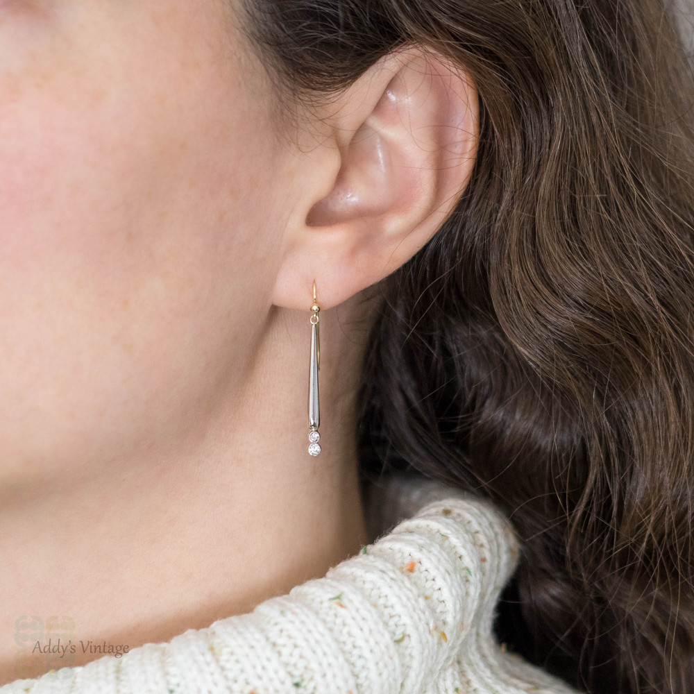 Old Cut Diamond Drop Earrings, 15ct Gold & Silver Antique Victorian Conversion Dangles.