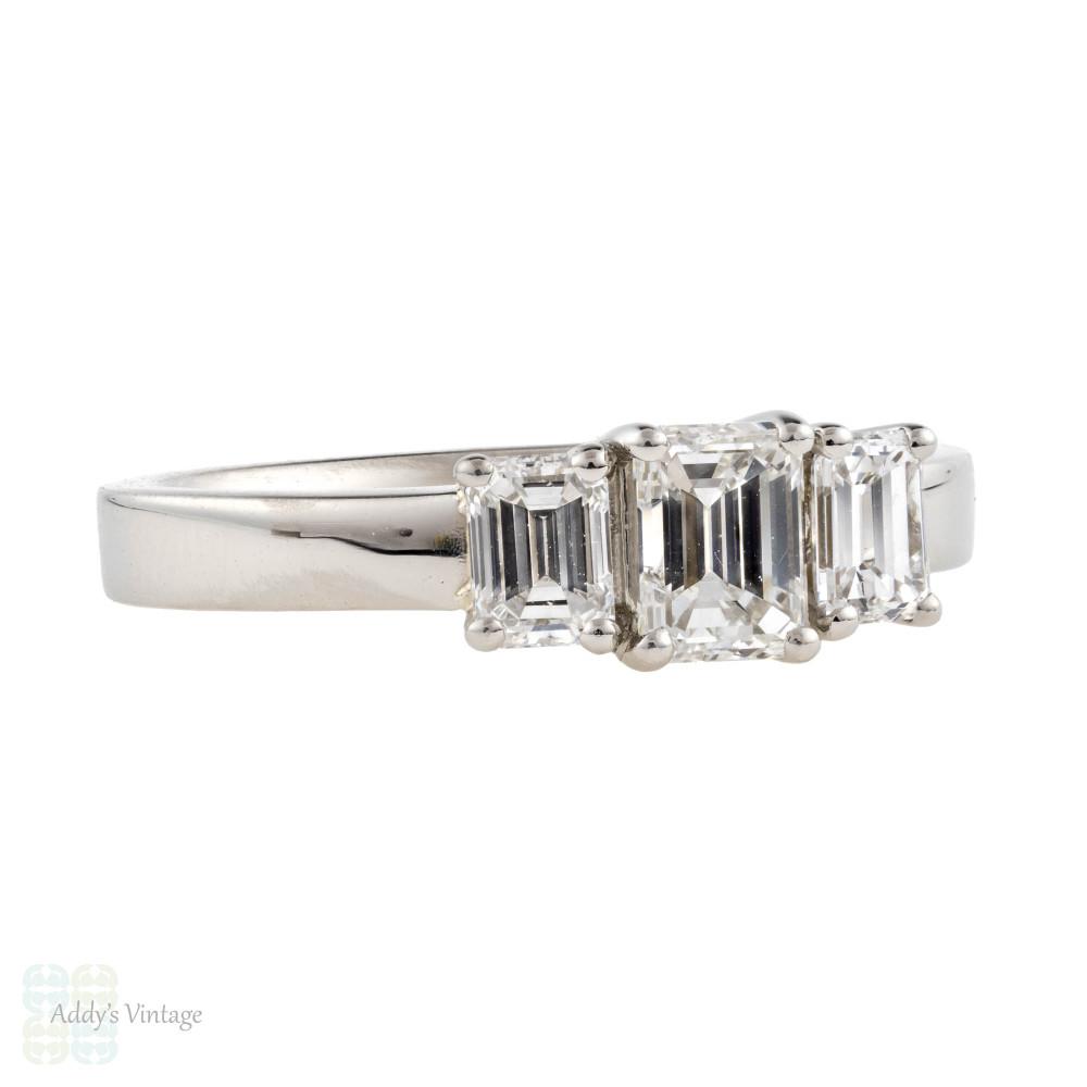 Emerald Cut Diamond Engagement Ring, Platinum 0.90 ctw Three Stone Ring.