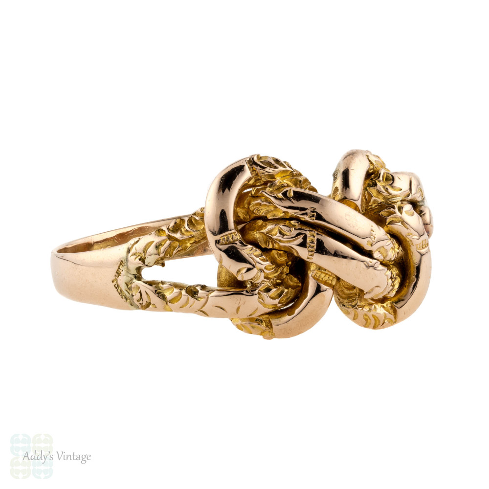 RESERVED Love Knot 9ct Band, Antique Edwardian Engraved 9k Rose Gold Ring.