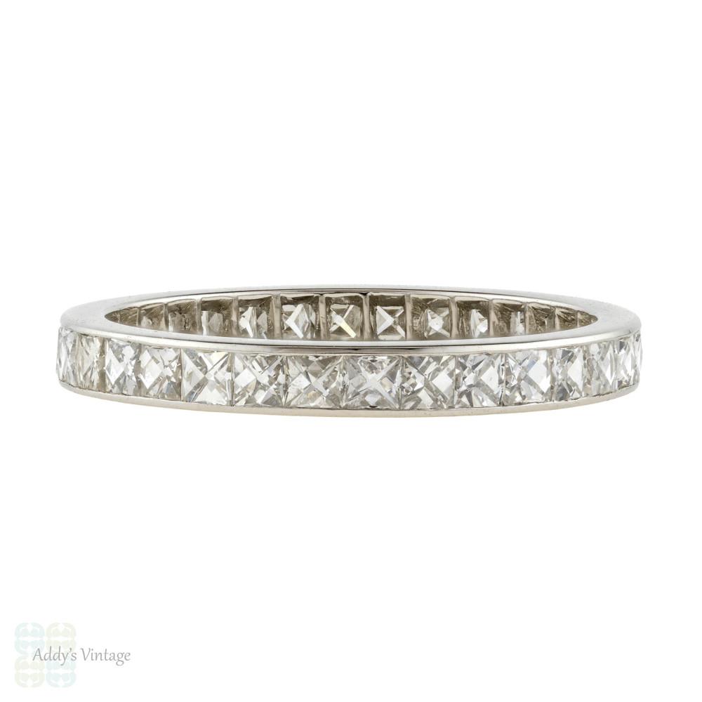 Platinum French Cut Diamond Eternity Ring, Full Hoop Wedding Band. Size O / 7.25.
