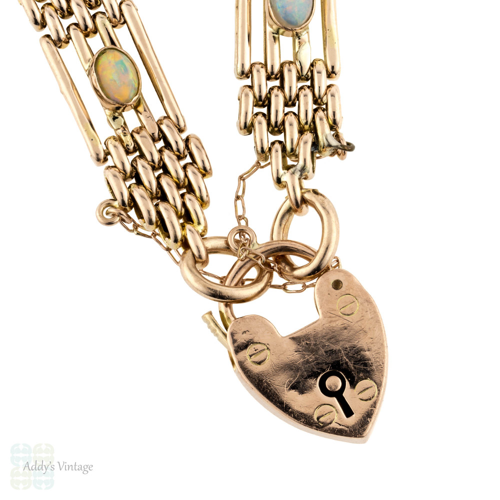 Edwardian Opal 9ct 9k Rose Gold Gate Bracelet with Heart Padlock Circa 1900s.