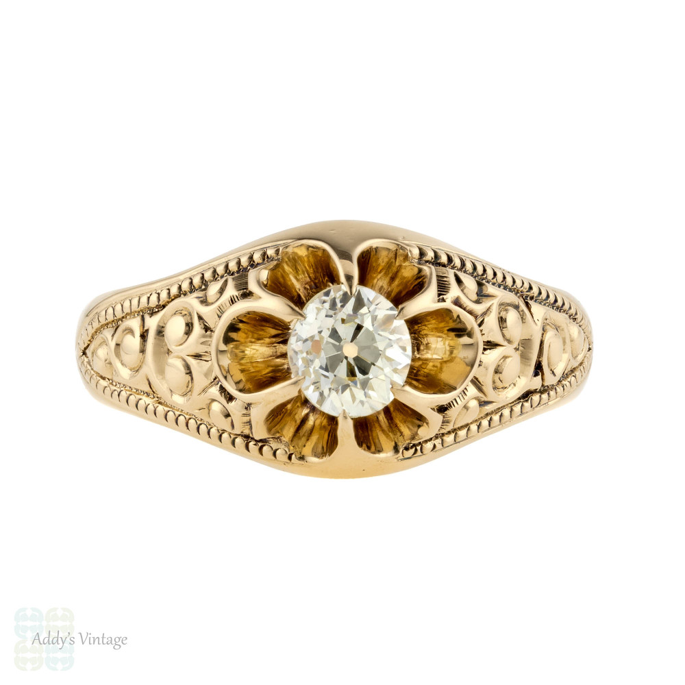 Old Mine Cut Diamond Gypsy Ring, Antique 14k 14ct Gold Engraved Single Stone Ring.