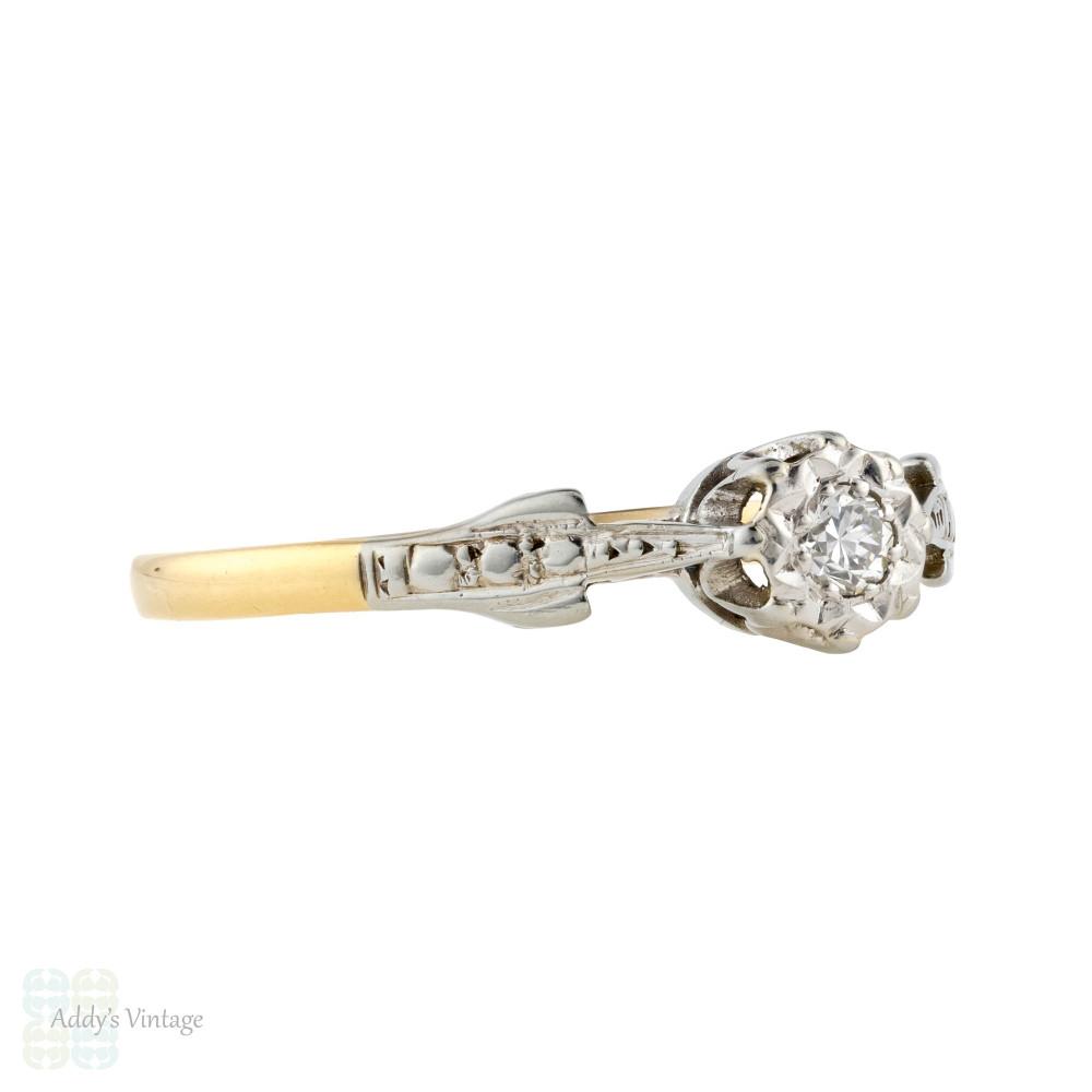 Vintage Single Stone Diamond Engagement Ring, Art Deco 18ct Engraved Setting.