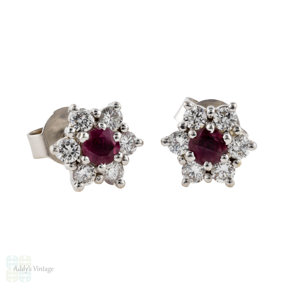 Ruby & Diamond Earrings, 18ct Gold Floral Red Ruby Cluster Studs with Diamond Halo.