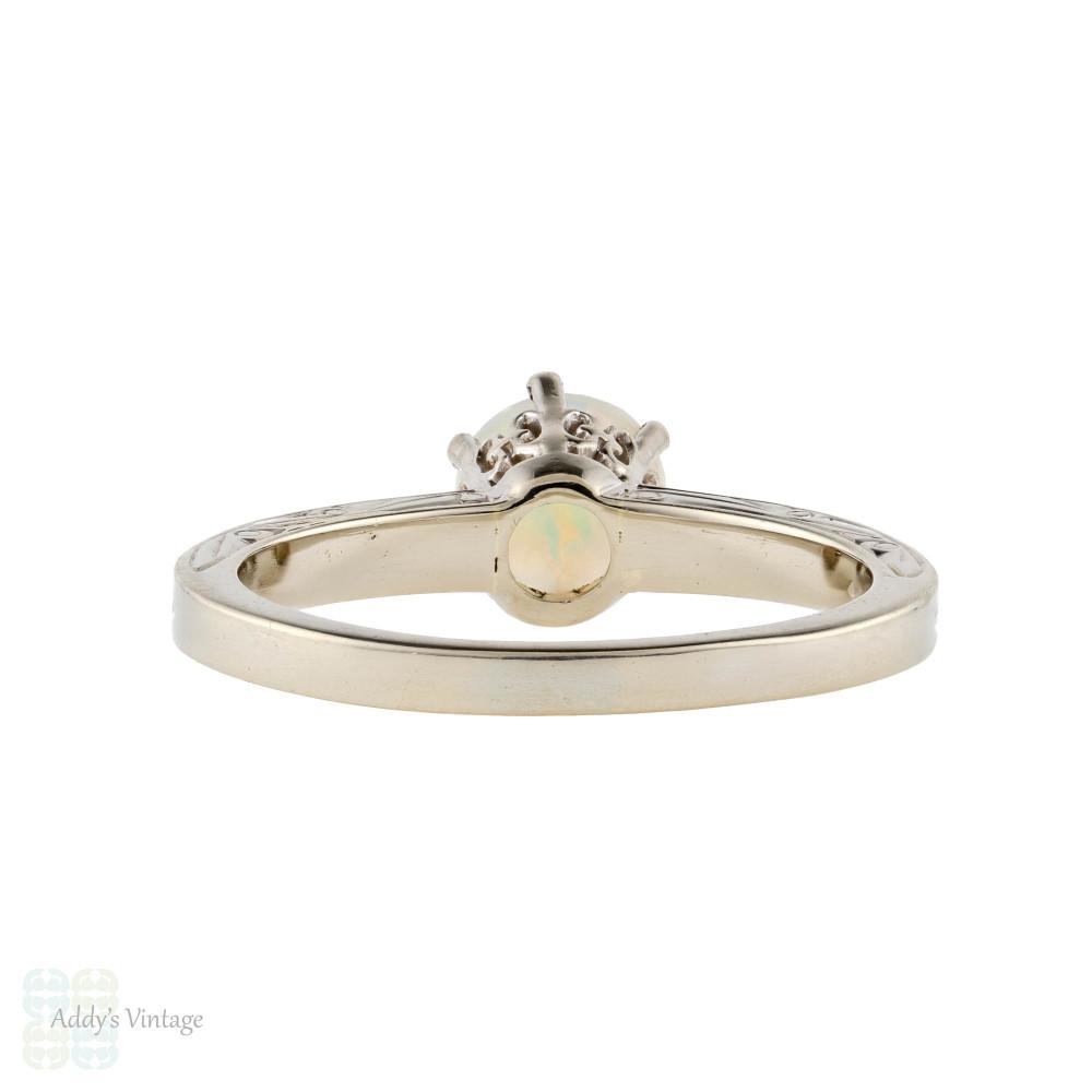 Opal 14k White Gold Engraved Art Deco Ring, Vintage 1930s Single Stone Ring.