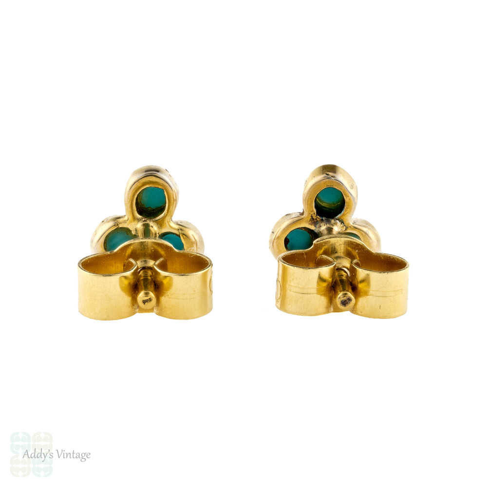 Turquoise Glass 18ct Gold Earrings, Small 18k Paste Clover Vintage Stud Earrings.