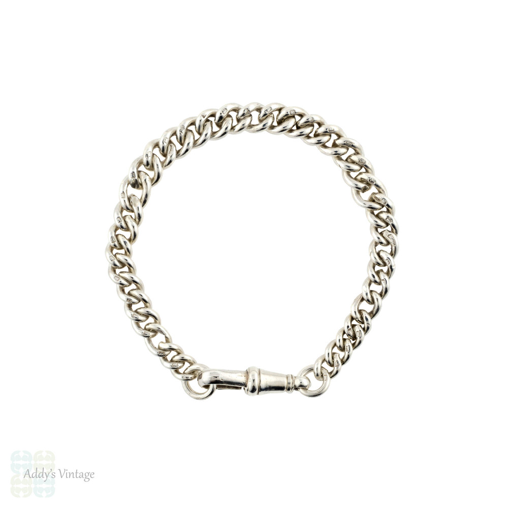 Antique Sterling Silver Bracelet, 1920s Graduated Curb Link Chain with Dog Clip Clasp.