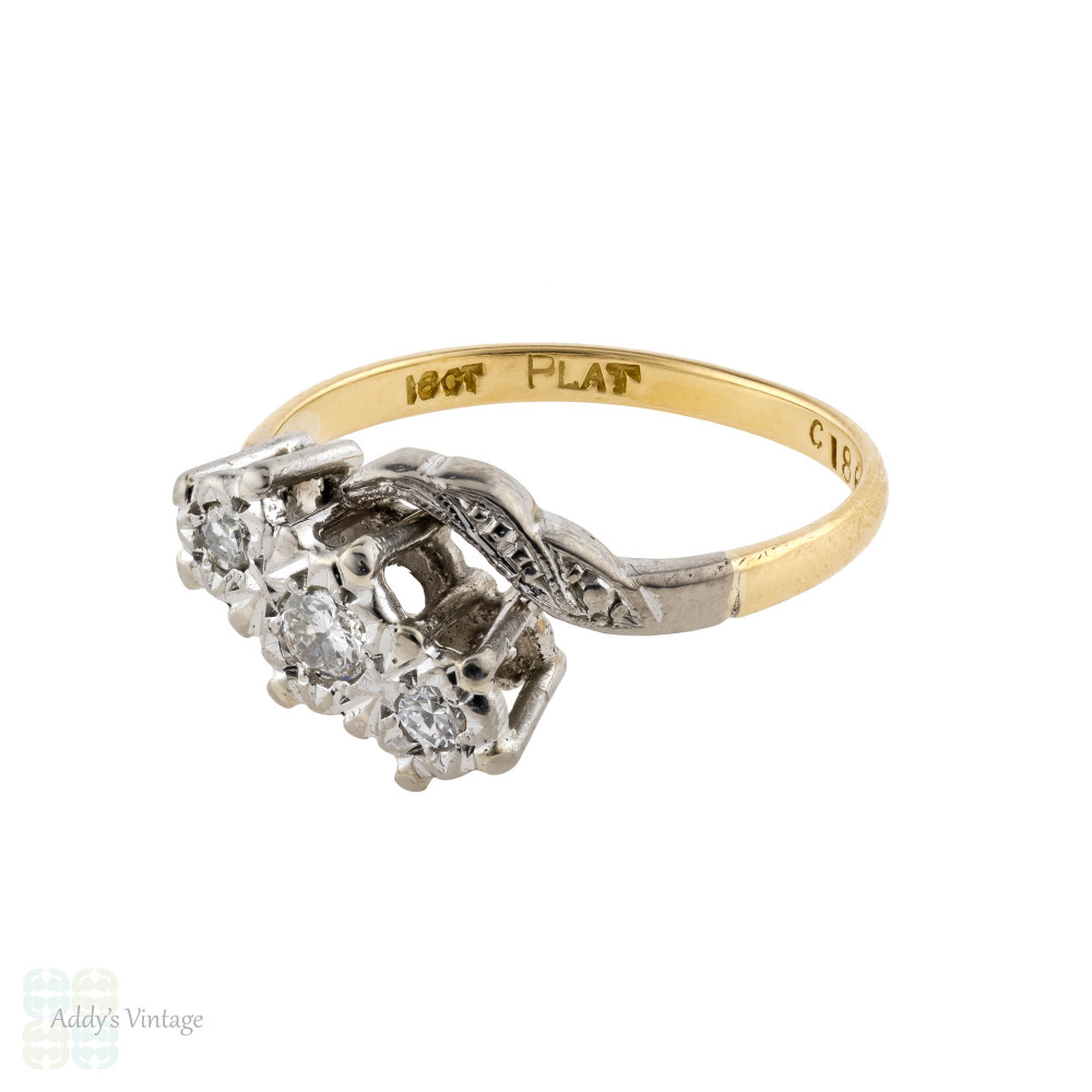 Vintage Three Stone Engagement Ring, 18ct Platinum Engraved Winged Twist Bypass Design.
