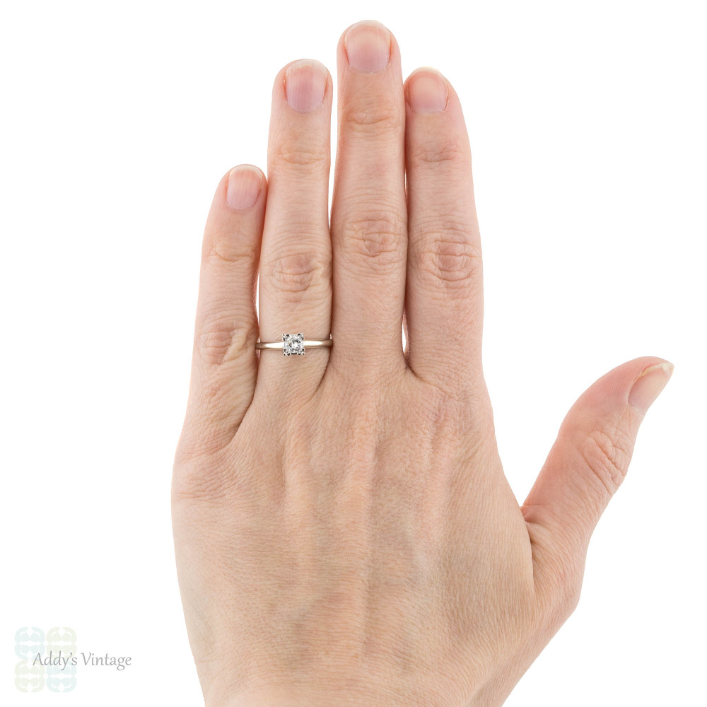 Vintage 1940s Diamond Engagement Ring, 14k 14ct White Gold Triple Claw Setting.