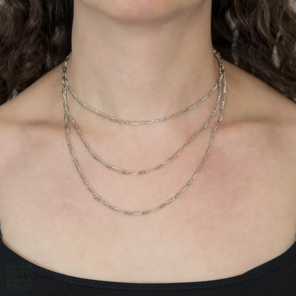 Figaro Link Sterling Silver Long Guard Chain Necklace, 136 cm / 53.5 inches.