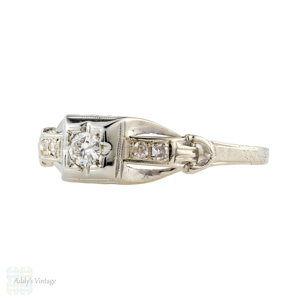 Old Cut Diamond Engagement Ring, Art Deco 18k White Gold Stepped Design.