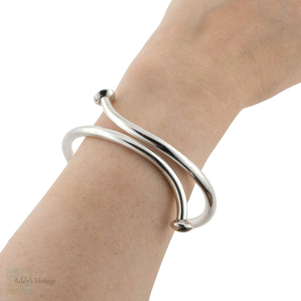 Nail Design Sterling Silver Bangle, Vintage Mid Century Large or Upper Arm Bracelet.