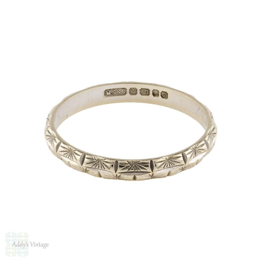 Engraved 18ct White Gold Wedding Band, Ladies Star Design 18k Ring. Size L.5 / 6.
