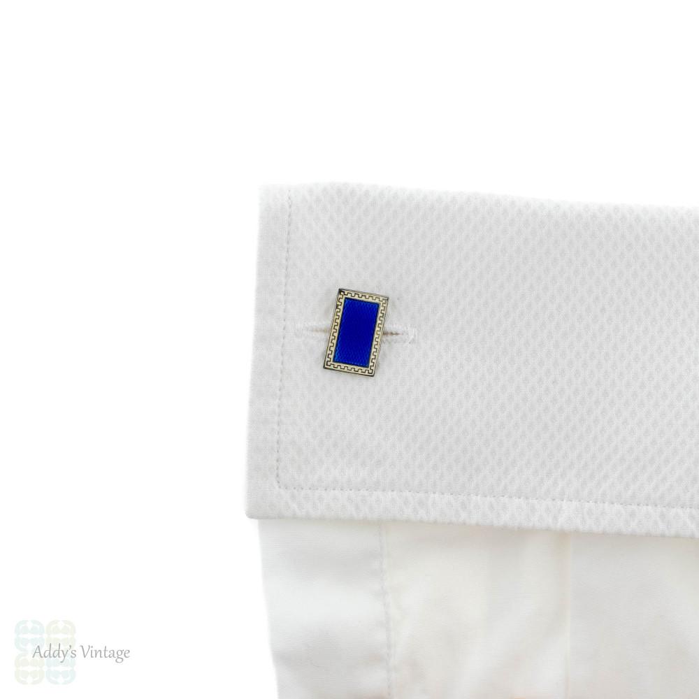 Edwardian Blue & White Guilloché Enamel Cuff Links, Sterling Silver Circa 1900.
