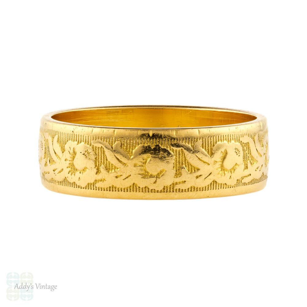 Vintage 22ct Gold Engraved Wedding Band, Wide Flower Pattern Ladies 22k Ring. Size L / 5.75.