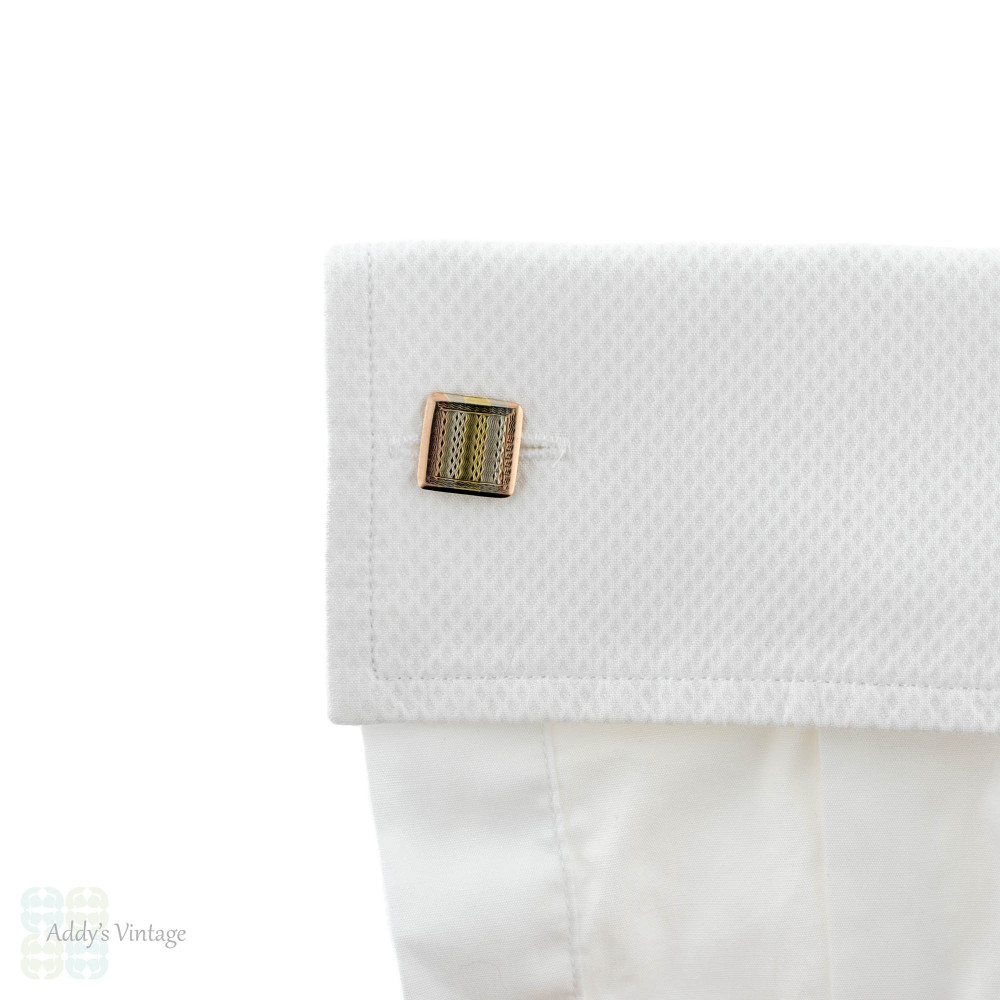 Art Deco 9ct White, Rose & Yellow Gold Cuff Links, 1920s Chester Hallmarked Engine Turned Cufflinks.