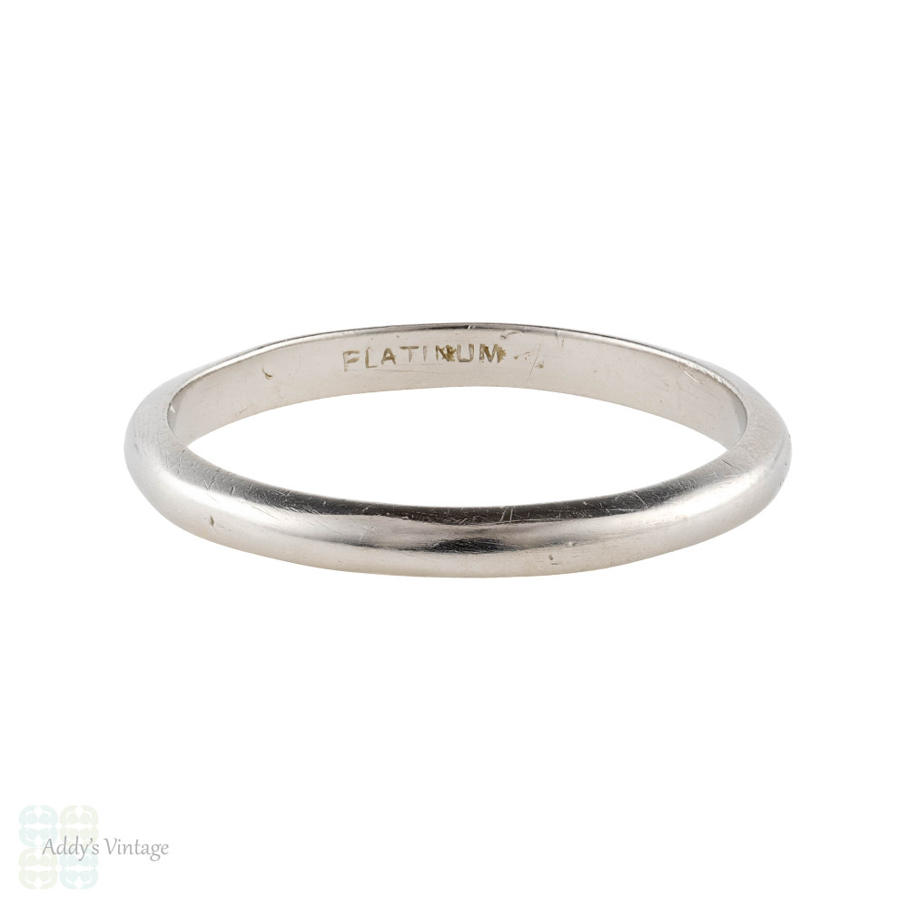 Vintage Platinum Ladies Wedding Band, Narrow Spacer Ring. Size K / 5.25.