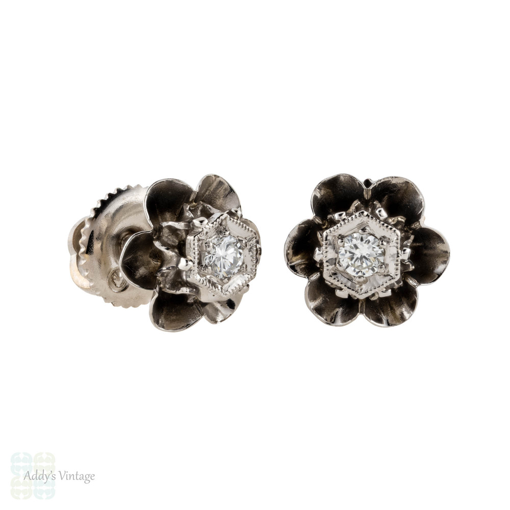 Diamond Stud Earrings in Buttercup Flower Setting, Mid 20th Century, 14k White Gold.
