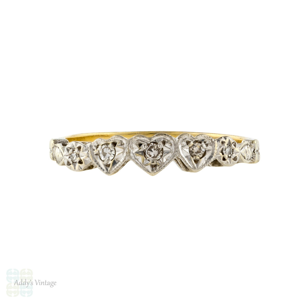 Five Stone Diamond Love Heart Engagement Ring. Circa 1930s, 18ct Gold & Platinum.