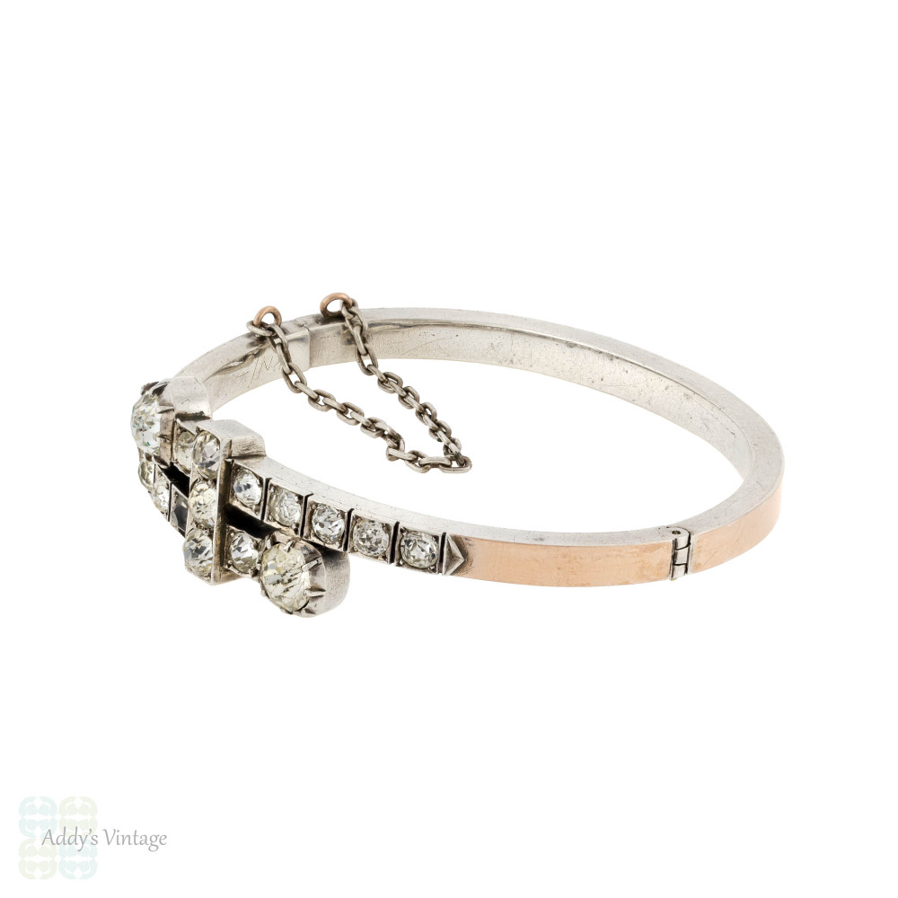 LAYAWAY Victorian Paste Bracelet, Antique 9k 9ct Rose Gold on Sterling Silver Bypass Bangle.