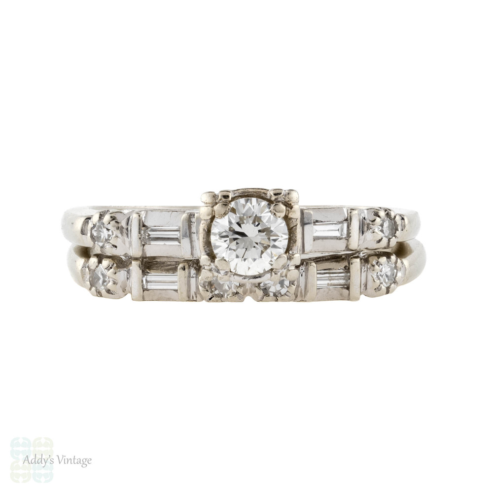 Vintage Engagement Ring & Wedding Band Set, 1940s Round & Baguette Cut Diamond Matched 14k Rings.
