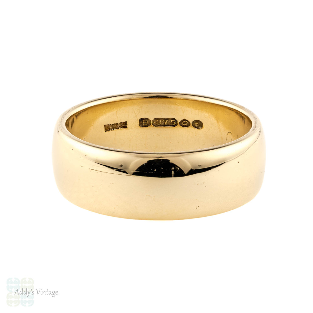 Wide 9ct Yellow Gold Men's Wedding Band, Vintage 1960s 9k Ring. Size T.5 / 9.75.