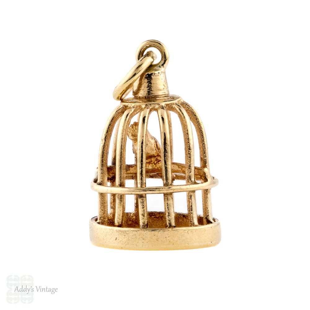 Bird in Cage 9ct Yellow Gold Charm, 1960s Birdcage 9k Small Pendant Necklace.