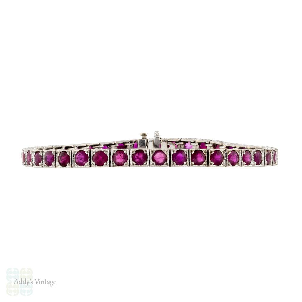 Ruby 18k Line Bracelet, Vintage 18ct White Gold Engraved Tennis Bracelet.