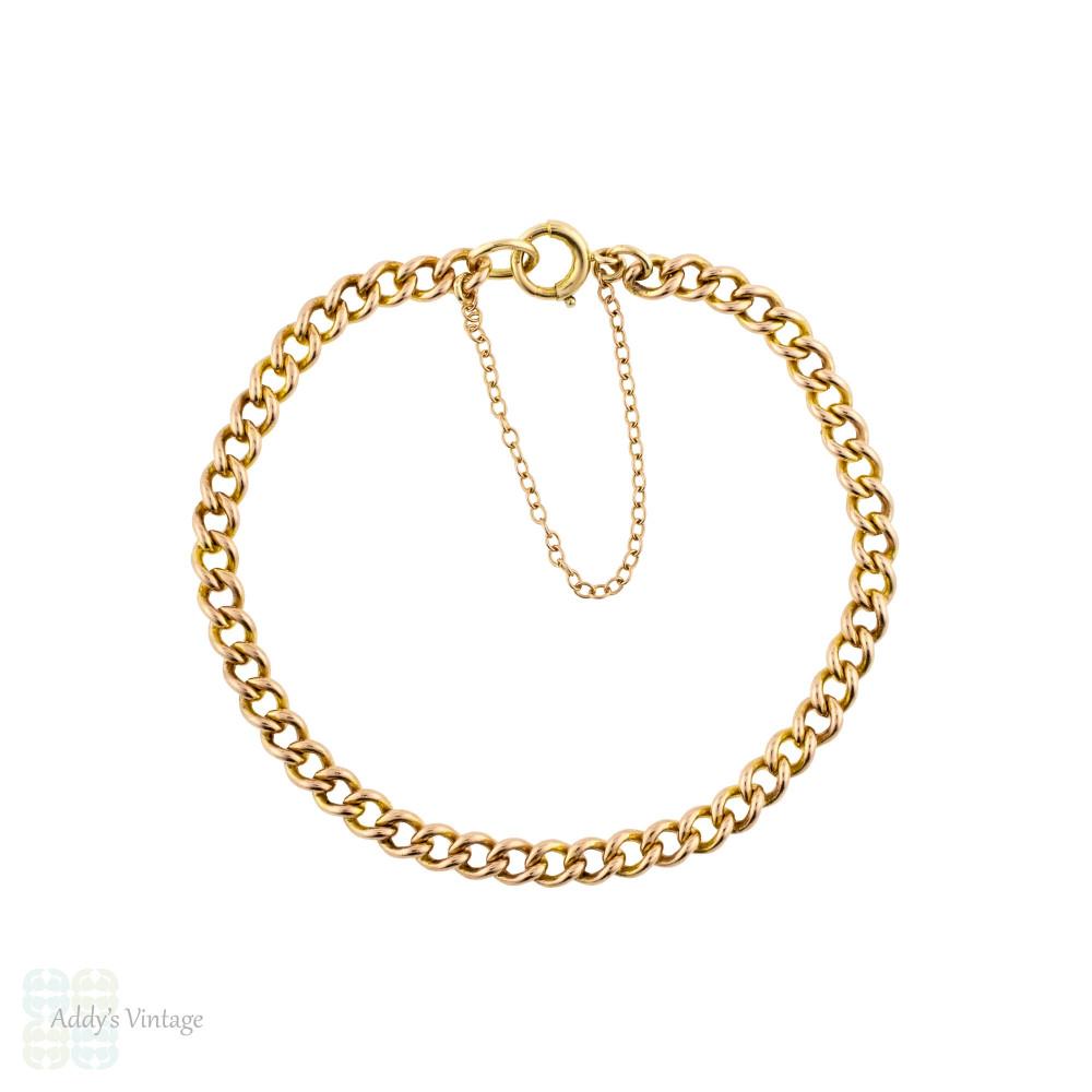 Antique 9ct Gold Curb Link Bracelet, Victorian 9k Rose Gold. 18 cm / 7.1 inches.