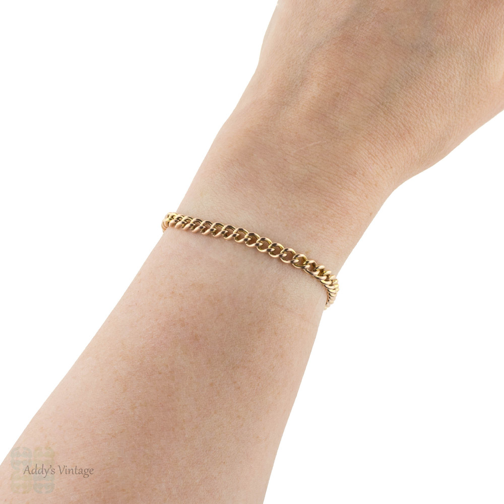Antique 9ct Gold Curb Link Bracelet, Victorian 9k Rose Gold. 18 cm / 7.1 inches.