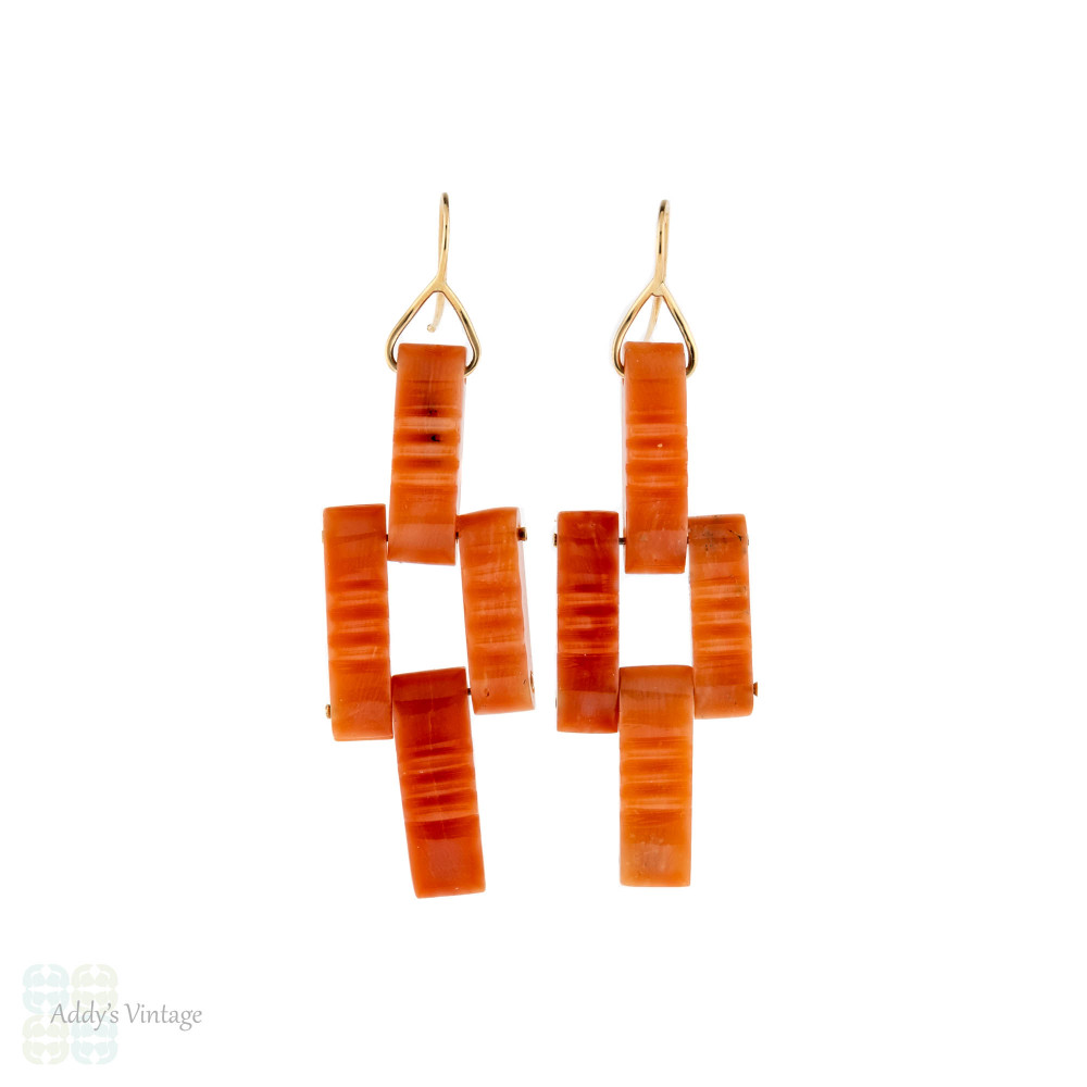 Coral 9ct Yellow Gold Earrings, Victorian Bricks Recycled in 9k Dangles.