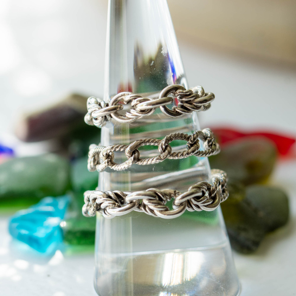 Sterling Silver Chain Ring, Vintage Ridge & Knot Chain Link Conversion Ring.