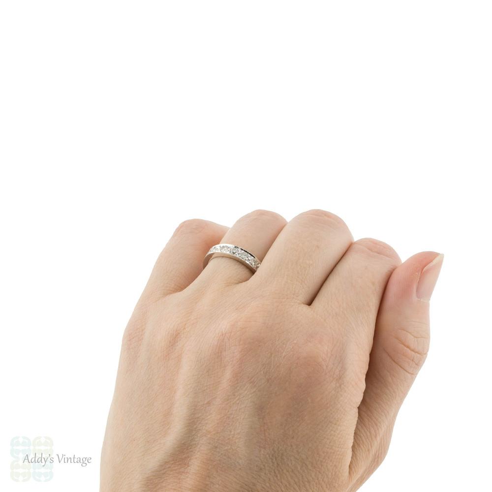 RESERVED Diamond 18ct Eternity Ring, Vintage Full Hoop 18k White Gold Wedding Band. Size L.25 / 6.