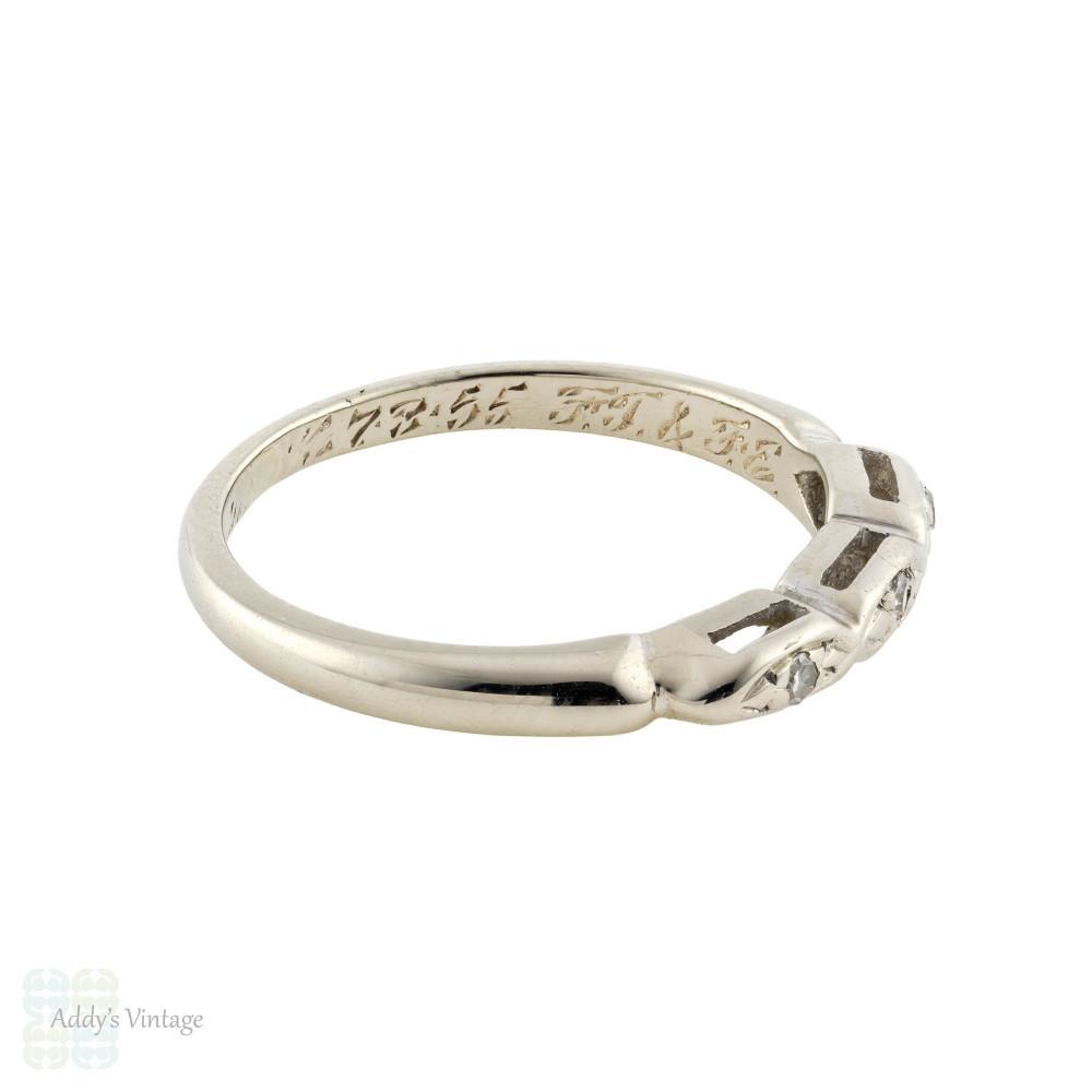Vintage 1950s Three Stone Diamond Wedding Ring, 14k White Gold Marquise Band.