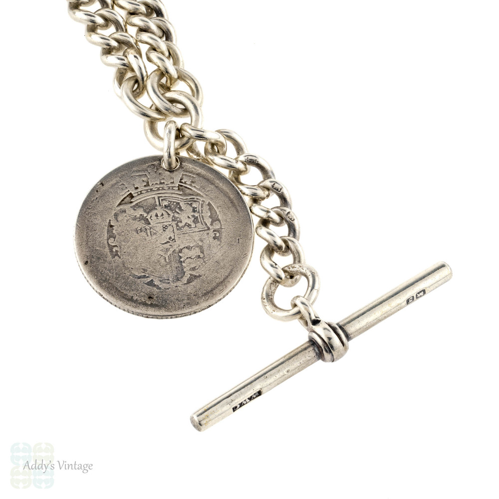 Victorian Sterling Silver Albert Chain, Antique Necklace with Dog Clips, T-Bar & 1816 Shilling Coin.