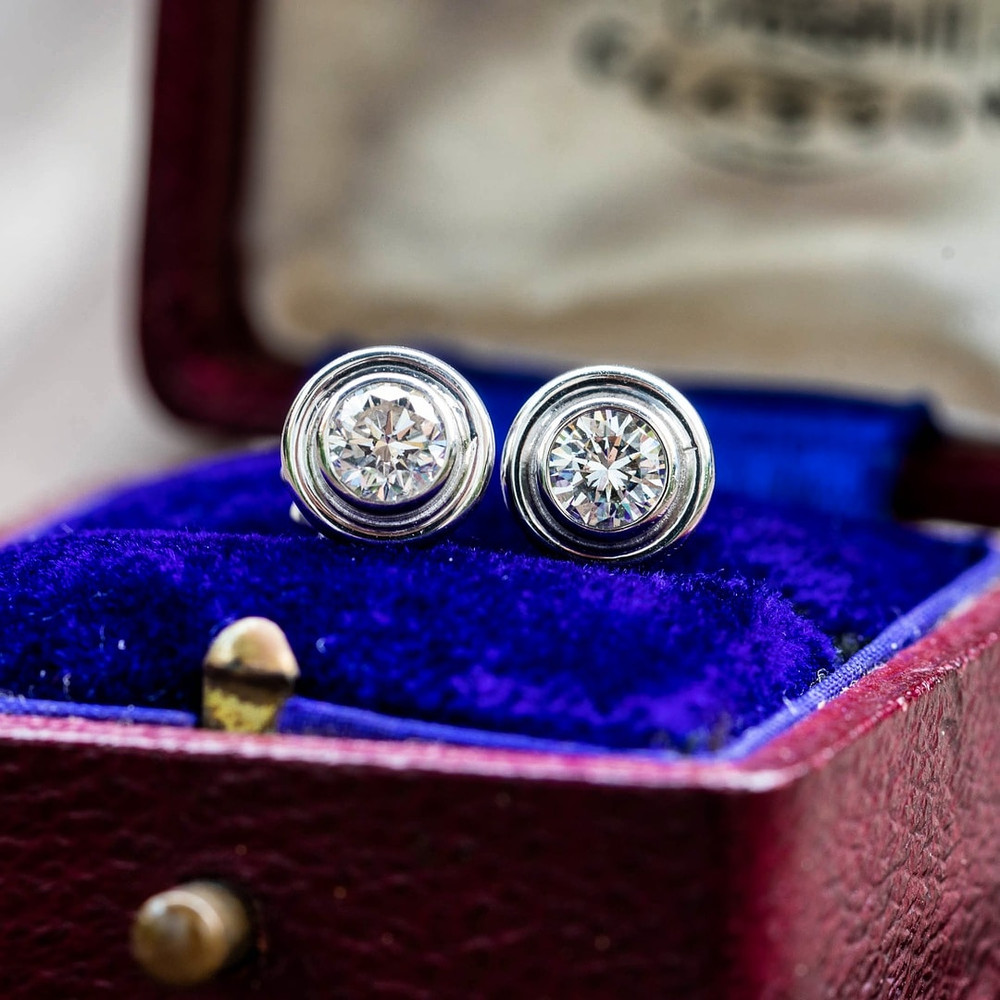Bezel Set 0.40 ctw Diamond Earrings, Vintage 18ct 18k White Gold Diamond Studs.