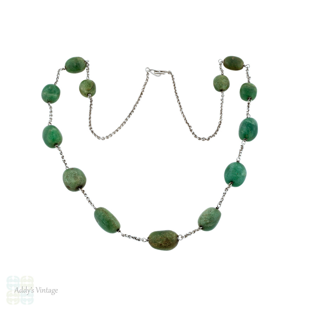 Antique Green Aventurine Gemstone Necklace.  Long Graduated Sterling Silver Chain, Circa 1910s.