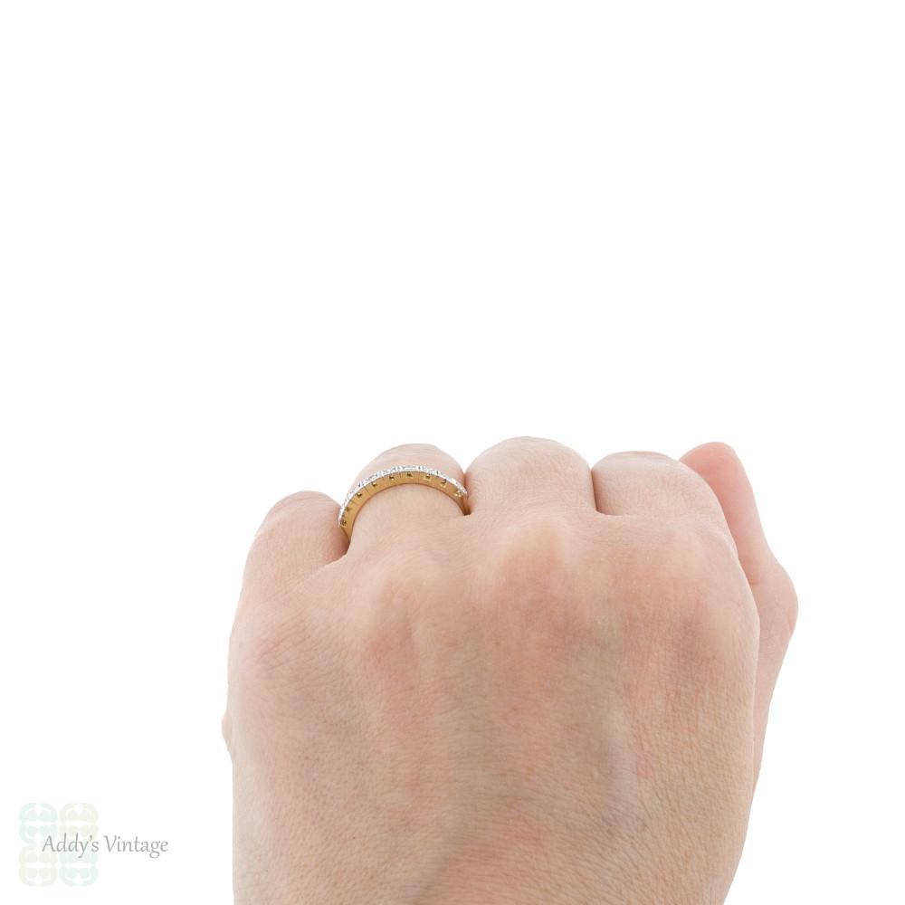 Diamond Half Hoop Band, Vintage 9 Stone Square Set Wedding Ring. 18ct Yellow Gold.