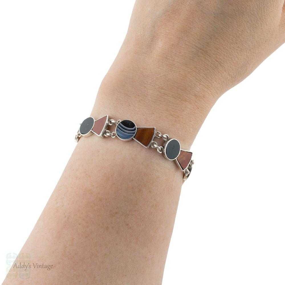 Agate Thistle Sterling Silver Bracelet, Vintage 1970s Scottish Link Bracelet.