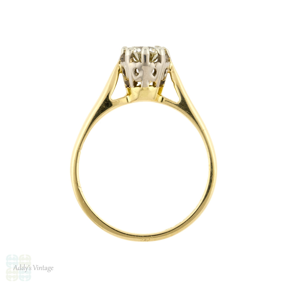 Diamond Engagement Ring, 18ct 18k Yellow Gold Vintage 0.45 ct Single Stone.