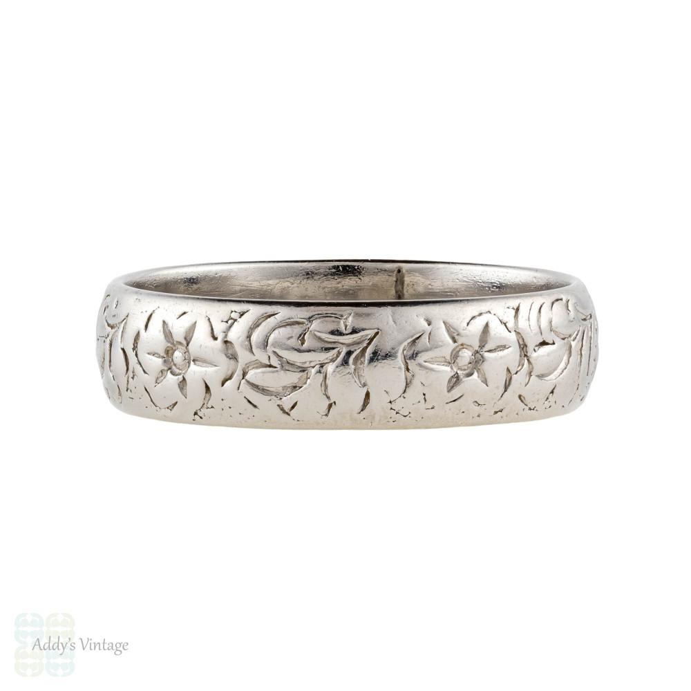 RESERVED Floral Engraved Wide Platinum Wedding Ring, Flower & Leaf Pattern Vintage Band. Size Q.5 / 8.5.