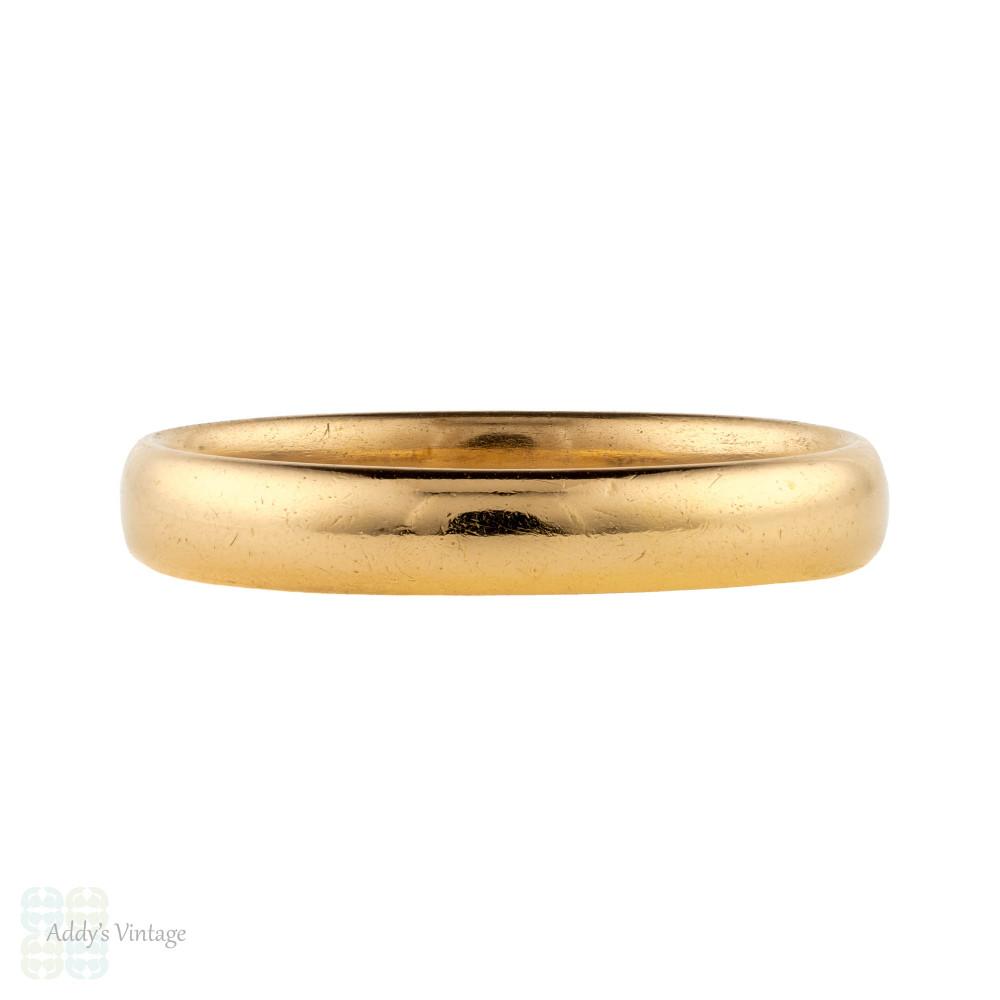 Art Deco 22ct Wedding Ring, Vintage 1930s Court Comfort Fit 22k Band. Size O / 7.25.