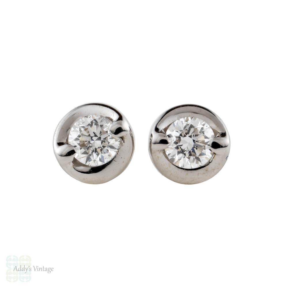 Vintage 18ct Diamond Stud Earrings, 0.18 ctw in 18k White Gold.