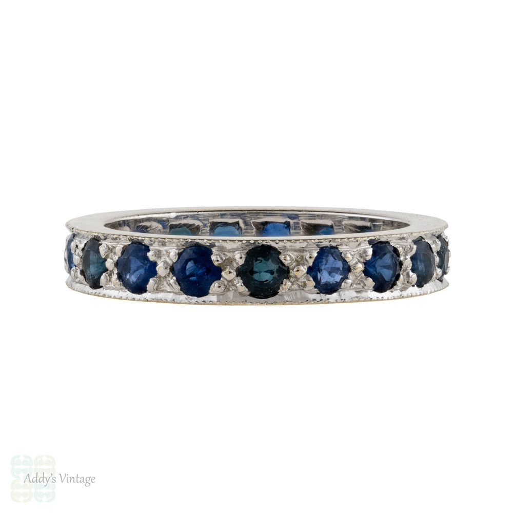 Sapphire 18ct Eternity Ring, Vintage Full Hoop 18k White Gold Wedding Band. Size L.25 / 6.