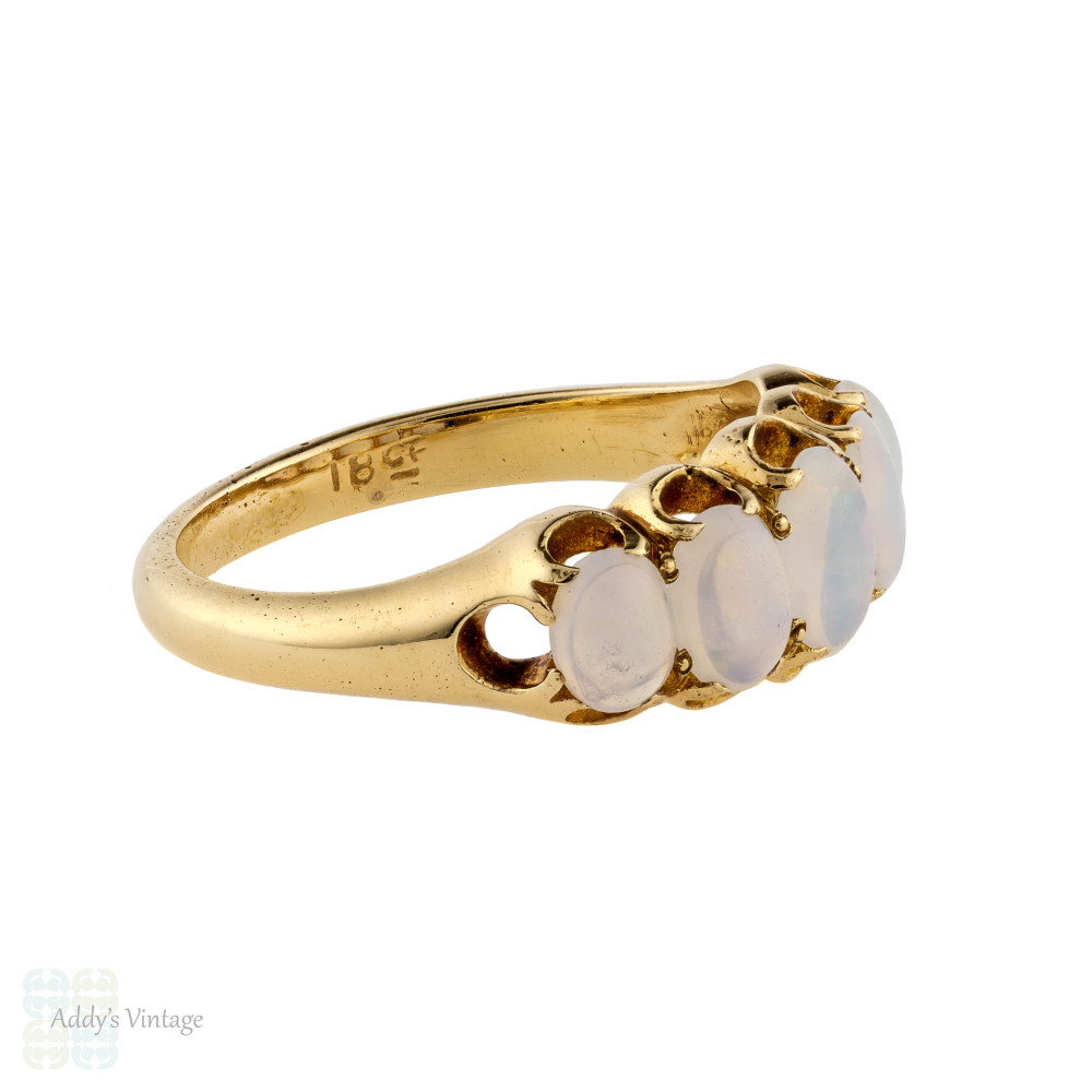 Victorian Opal Five Stone 18ct Ring, Antique Graduated Opal Band 18k Yellow Gold.