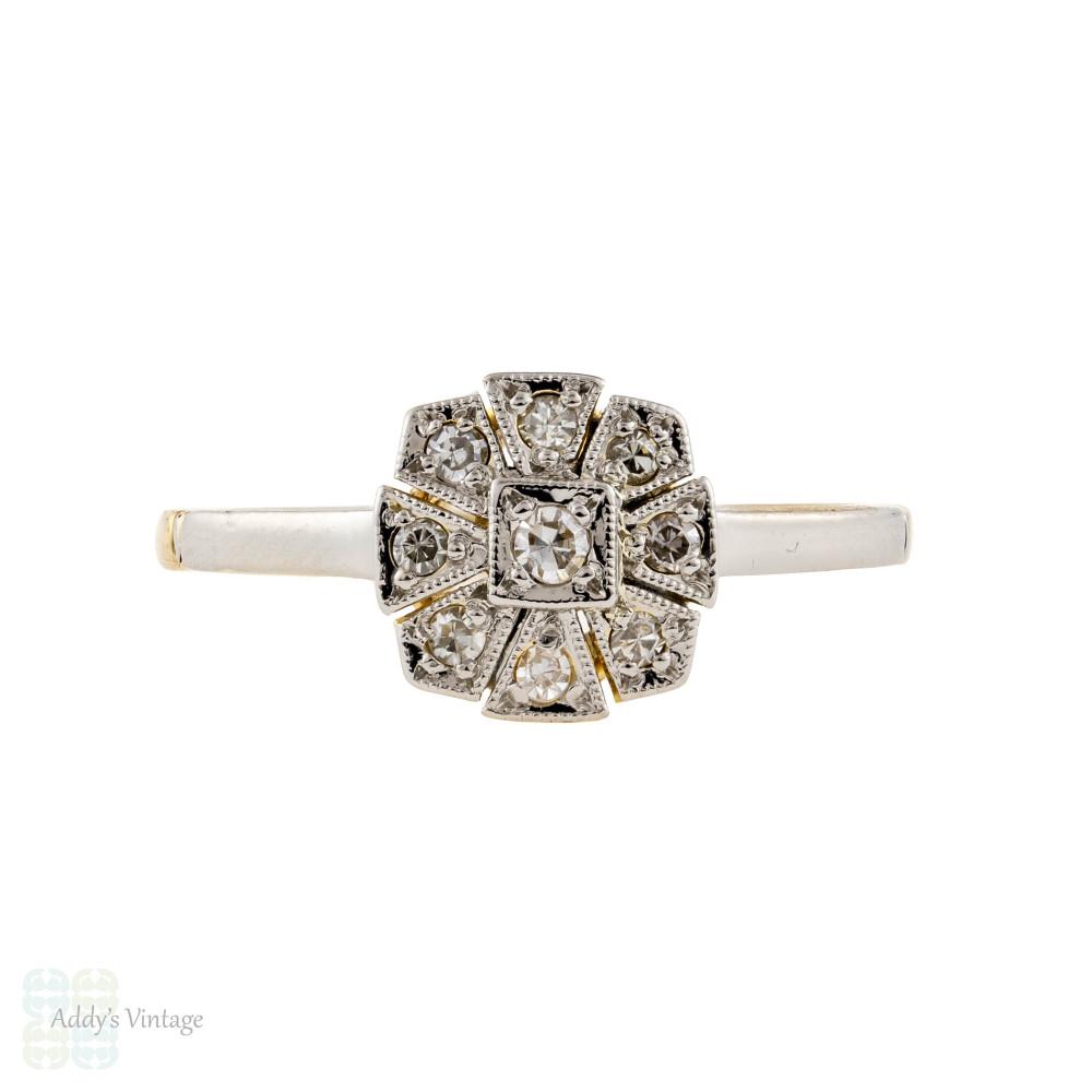 Art Deco Diamond Engagement Ring, 1930s Cushion Shaped Flower. 18ct Gold & Platinum.