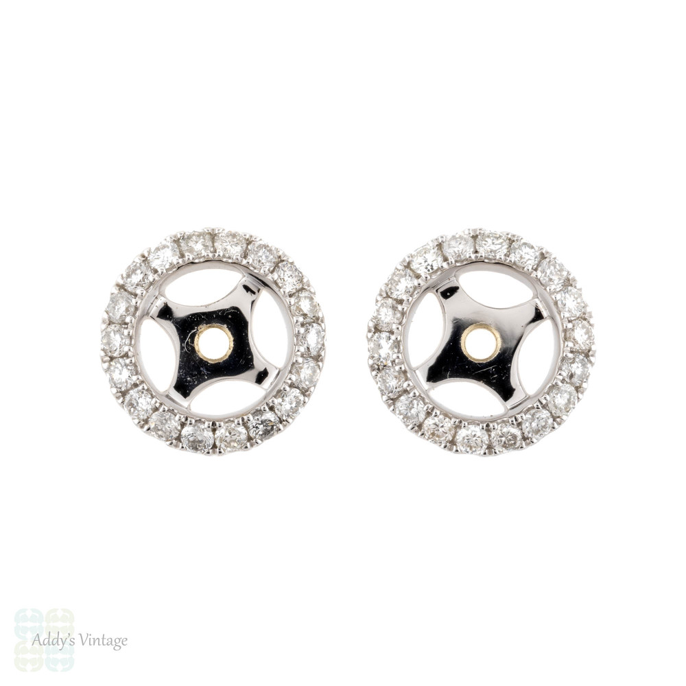 Diamond Earring Halo Jackets, 18ct Gold Stud Enhancers for 5mm, 0.80 - 1ctw Studs.